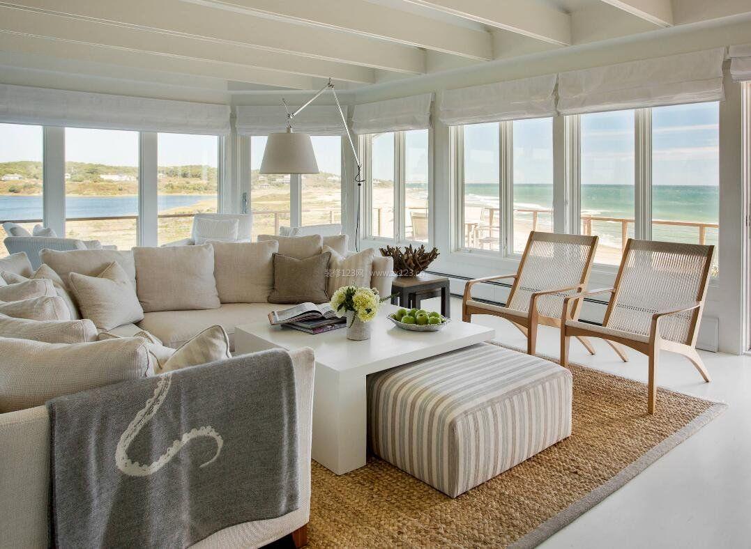 海景别墅客厅窗户简装设计图片大全