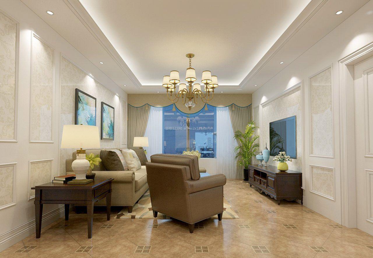 15平简美式风格客厅吊顶设计_装修123效果图