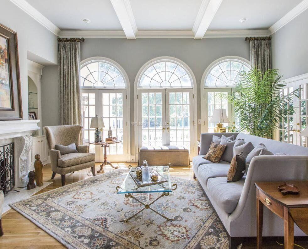 别墅客厅欧式风格窗户设计图片大全_装修123效果图图片