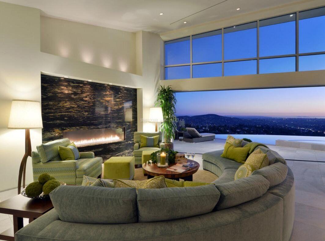 小别墅客厅半圆形沙发布局图片图片