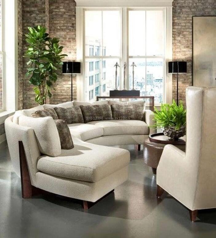 家庭客厅半圆形沙发装修设计图赏析图片