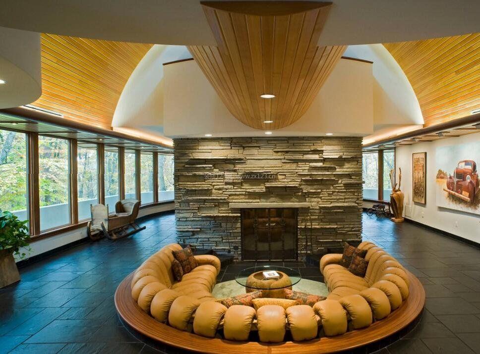 下沉式客厅半圆形沙发设计欣赏_装修123效果图图片