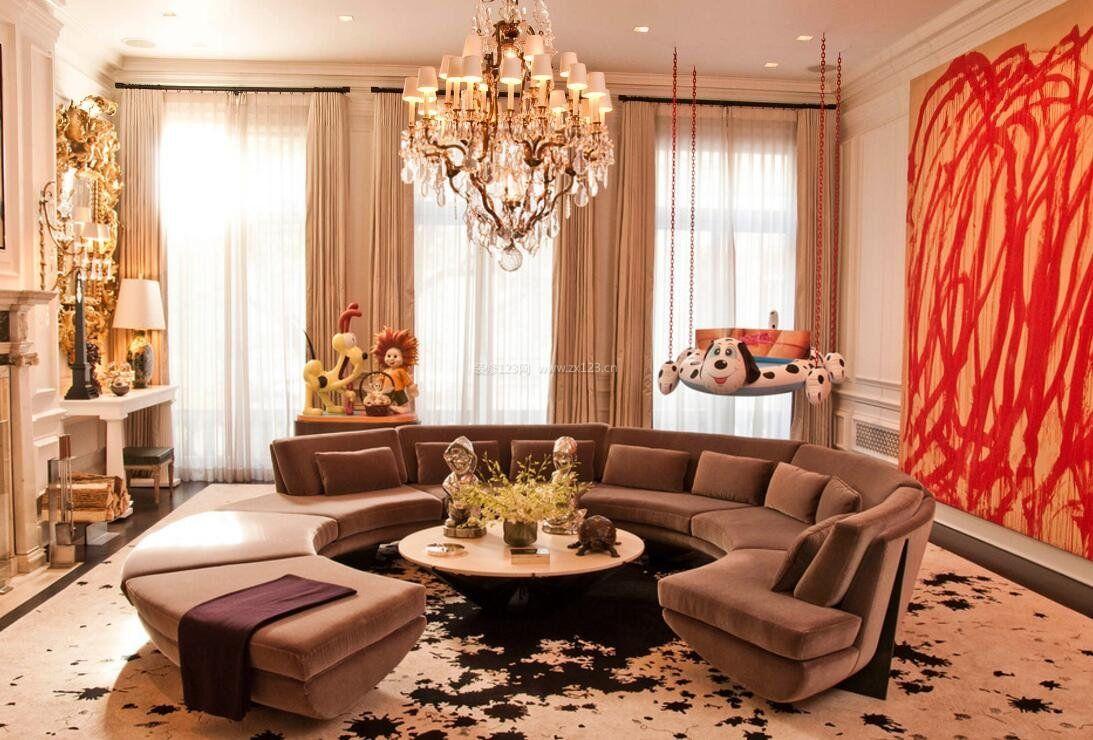 豪华客厅半圆形布艺沙发装饰装修图图片