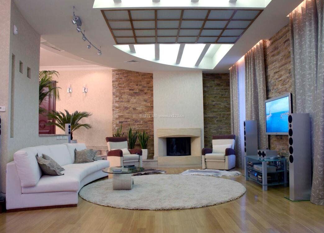 现代极简公寓客厅半圆形沙发装修图片