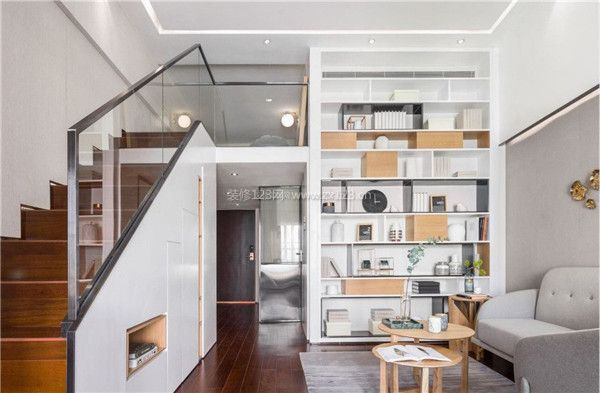 小户型单身公寓客厅整体装修效果图