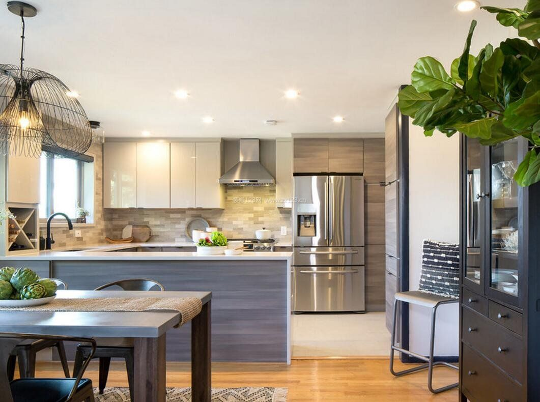现代风格厨房3米橱柜设计图片大全2018