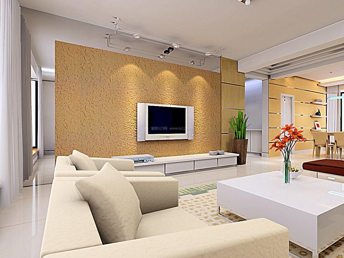 2018现代电视背景墙硅藻泥效果图