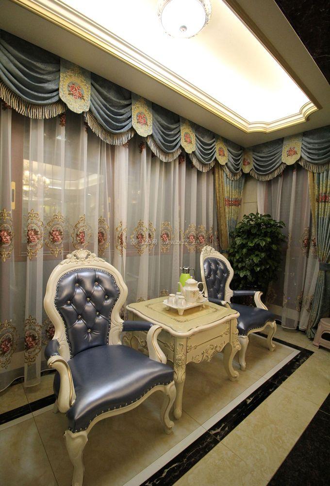 2018欧式客厅转角窗帘设计效果图