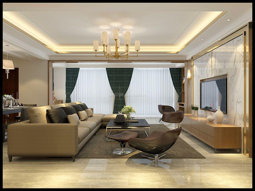 2018客厅现代简约布艺窗帘设计装修图片