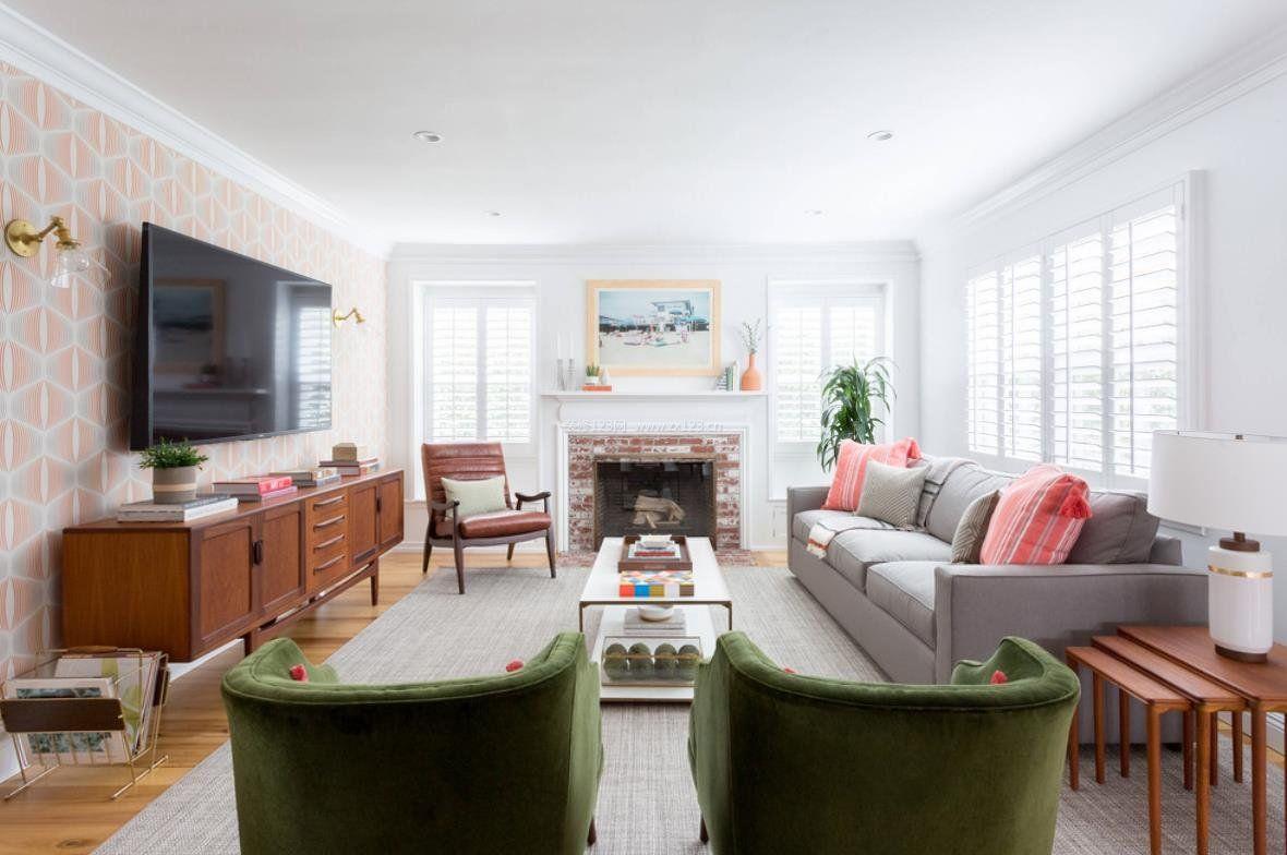 2018家居客厅电视背景壁纸搭配效果图
