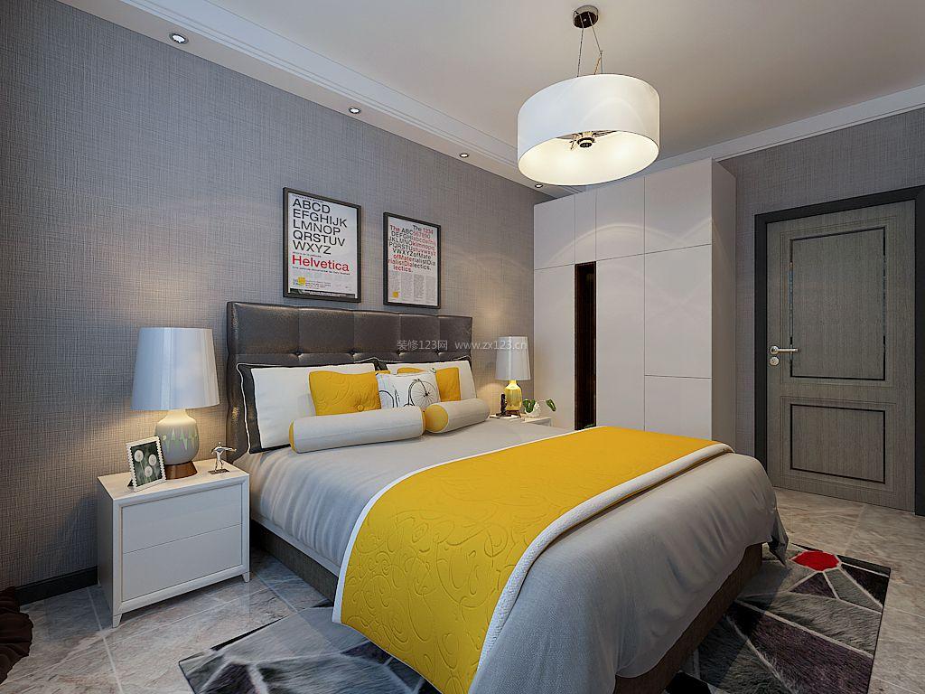 2018现代主卧室白色衣柜设计装修效果图片