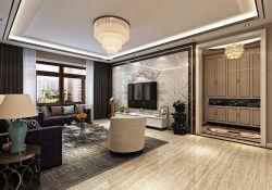 2018现代家装客厅瓷砖电视墙设计效果图图片
