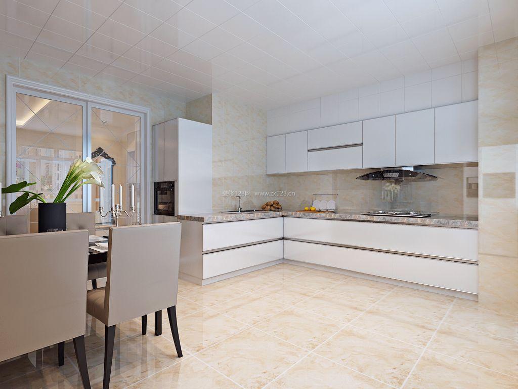 大户型厨房转角橱柜设计装修效果图2018