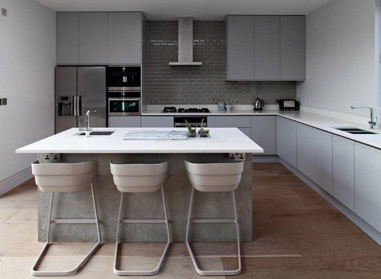 灰色房间大厨房装饰图片欣赏_装修123效果图