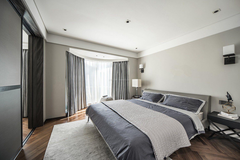 灰色房间卧室弧形飘窗图片