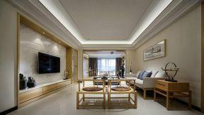 2018现代中式客厅效果图 2018客厅瓷砖电视墙装修图片图片