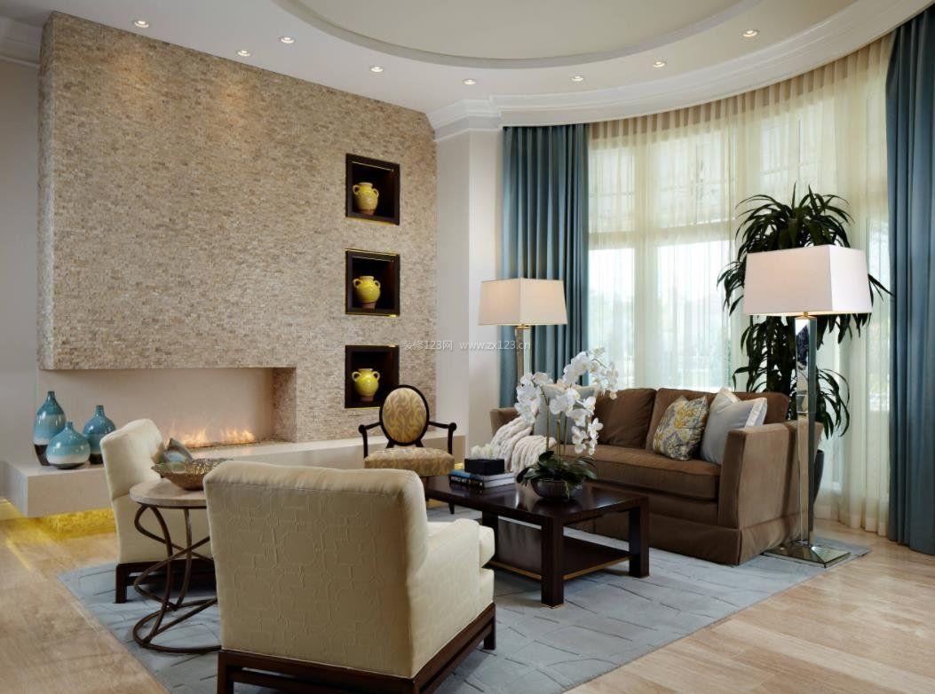 2018现代家居客厅蓝色窗帘