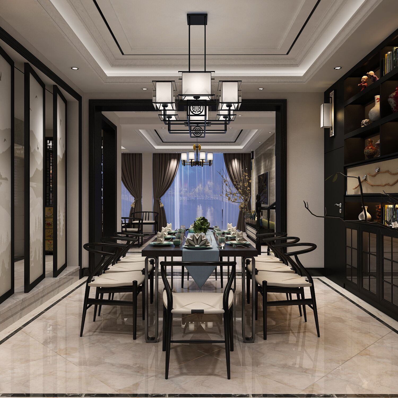 2018新中式别墅餐厅餐桌软装配饰装修效果图片