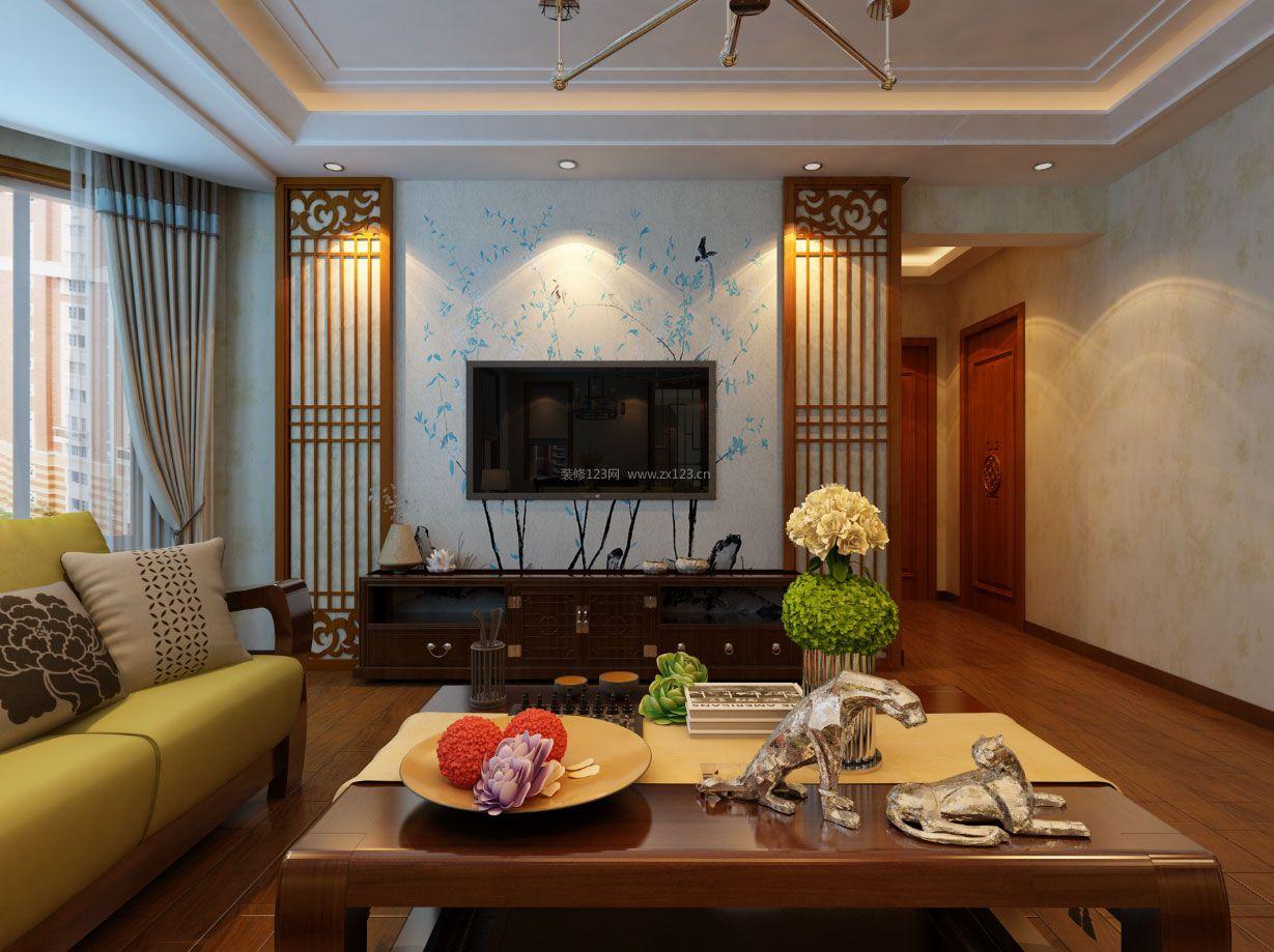 2018时尚新中式客厅电视机背景墙效果图