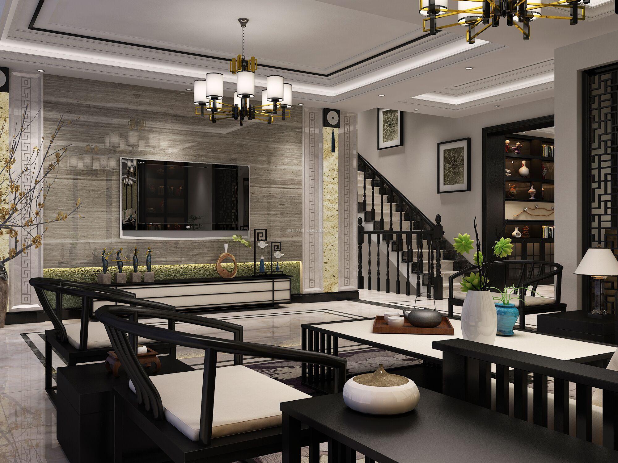 2018雅致新中式别墅客厅软装设计效果图片