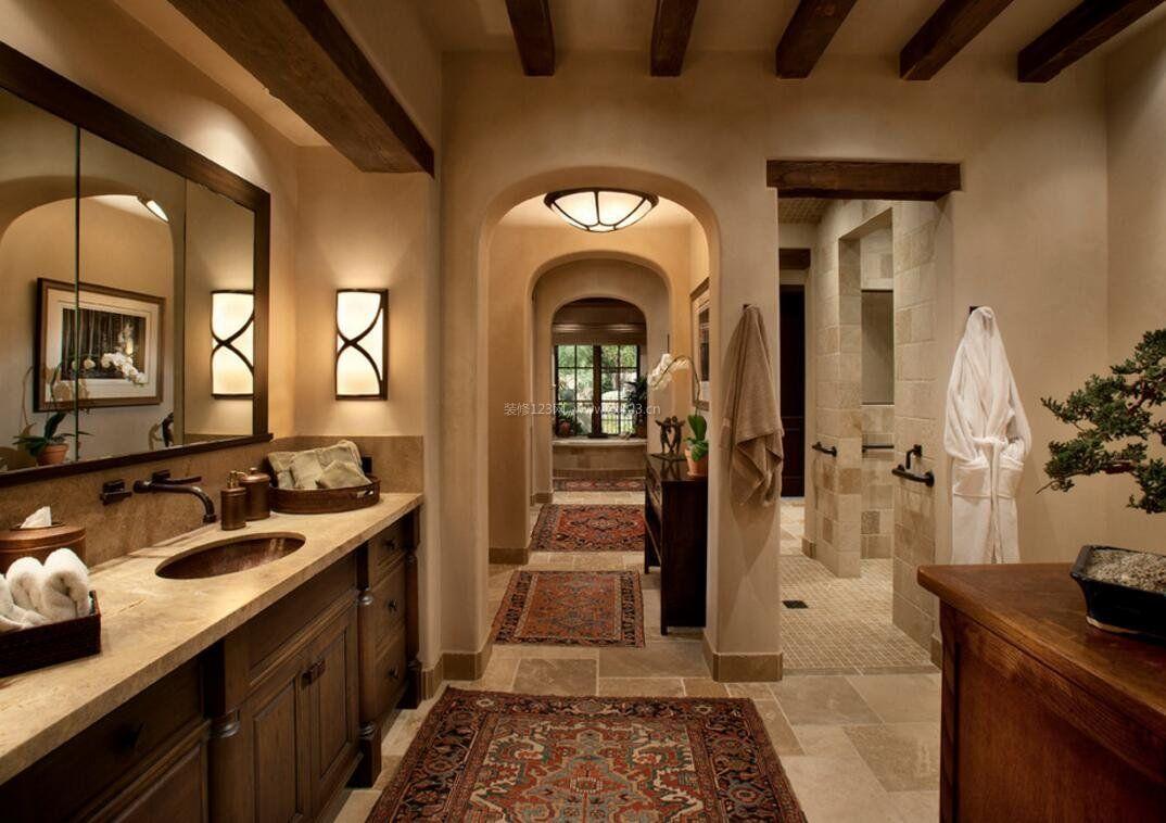 复古美式家庭卫浴装修图_装修123效果图