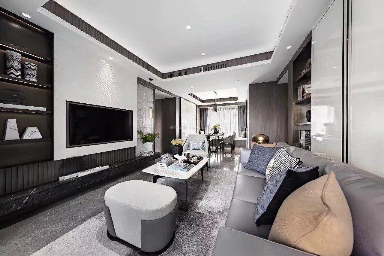 现代风格室内黑白灰家装效果图片2018_装修123效果图