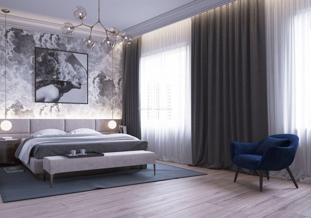黑白灰家装卧室床头墙纸效果图2018