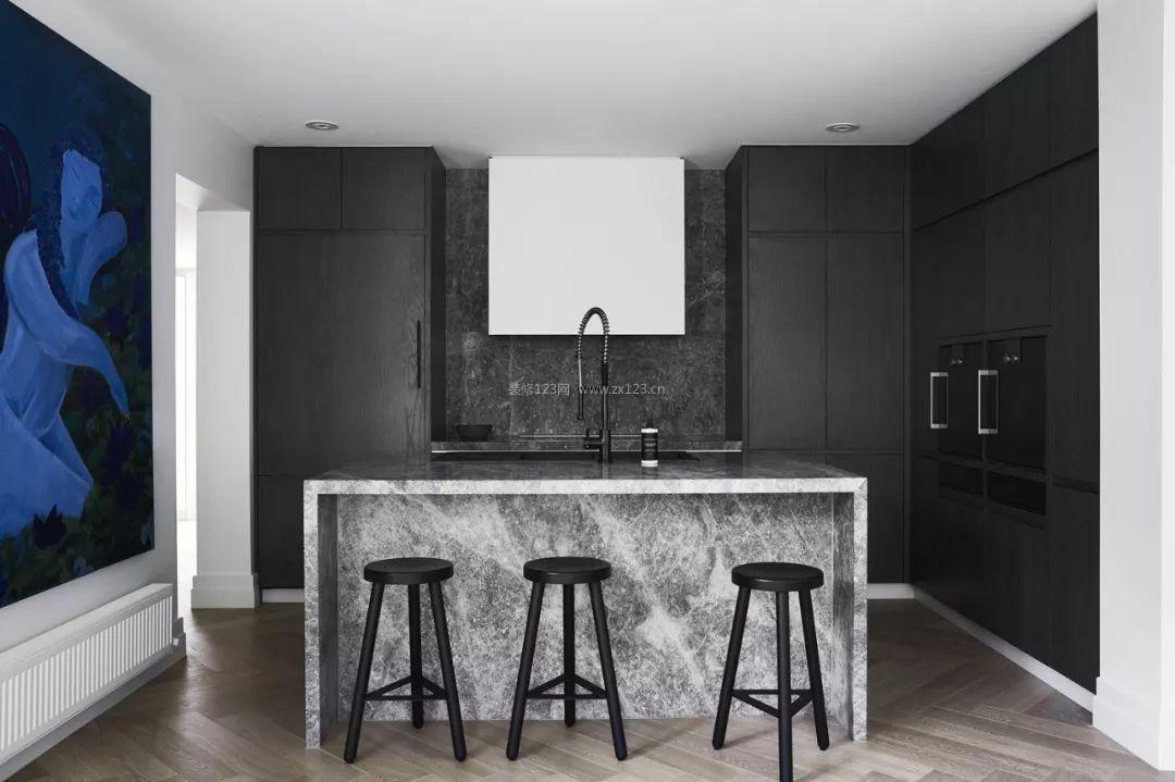 黑白灰风格开放式厨房家装效果图_装修123效果图