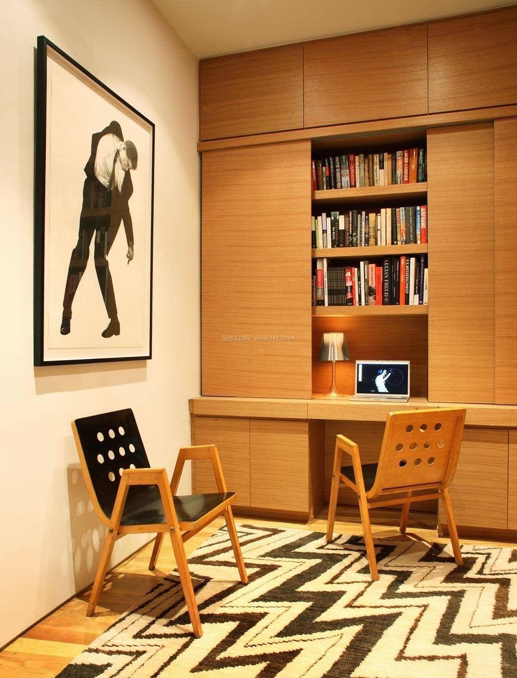 2018室内原木书桌书柜装修图_装修123效果图图片