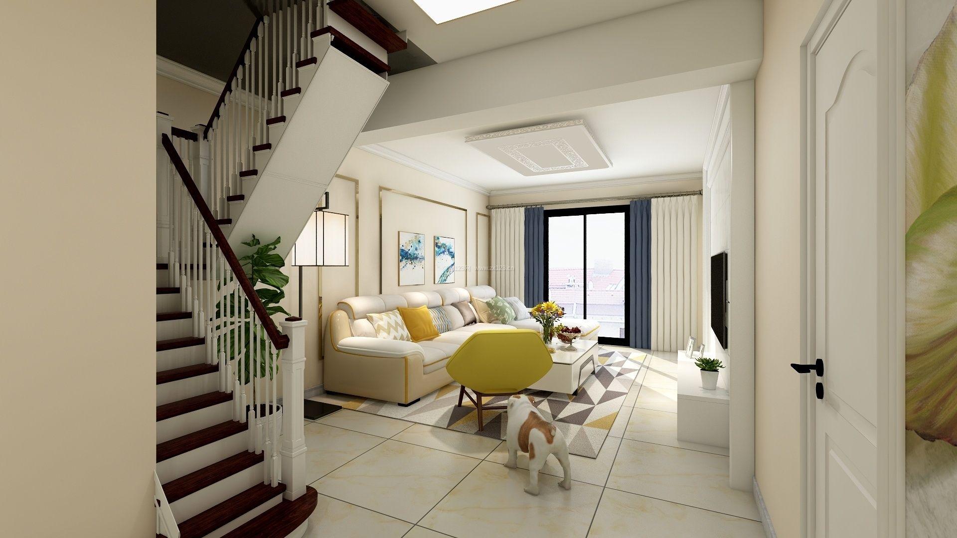 现代复式别墅客厅楼梯设计装修案例
