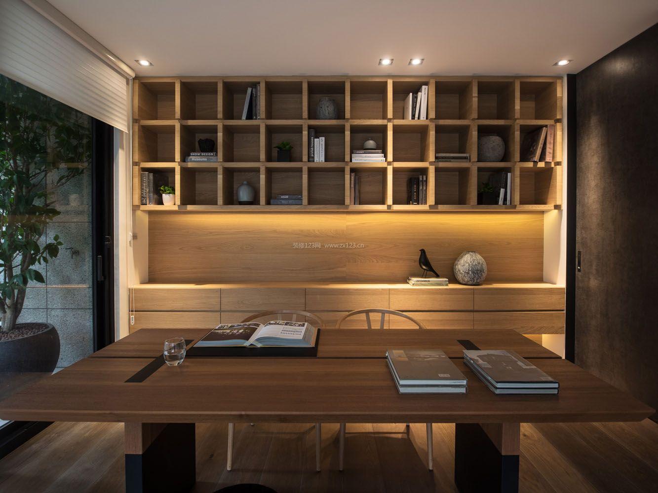 精装公寓原木风格书房设计图片
