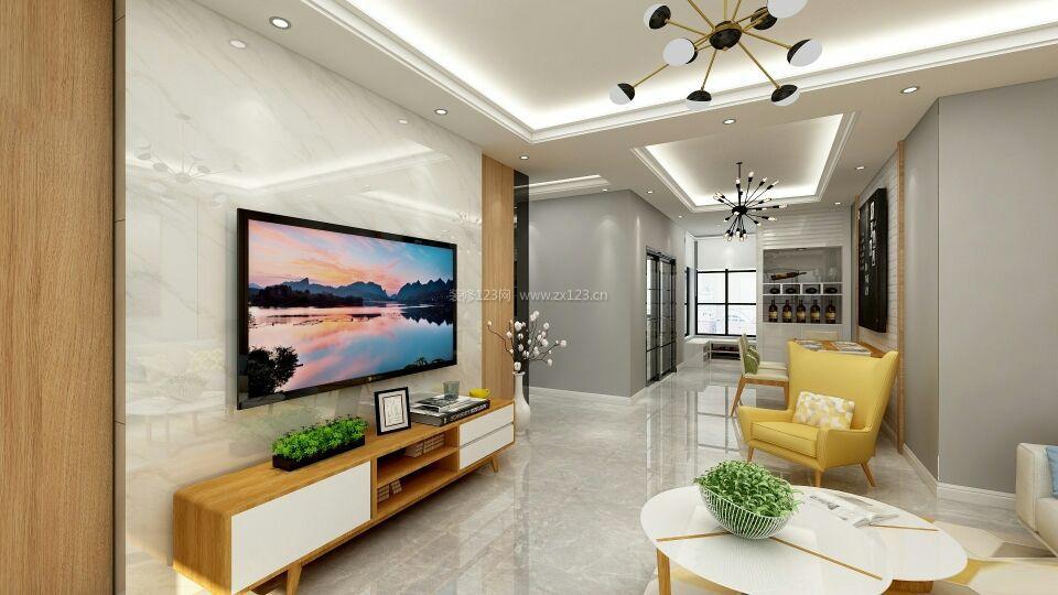 现代北欧风格大理石电视墙装修效果图大全图片