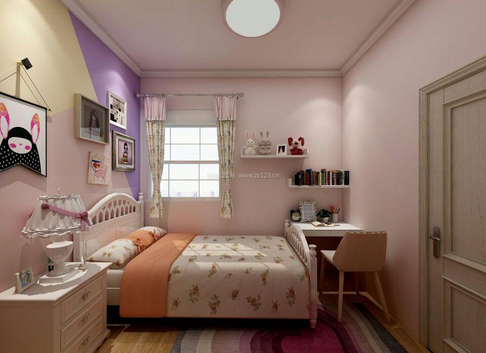 2018简约女孩卧室粉色背景墙装修设计效果图
