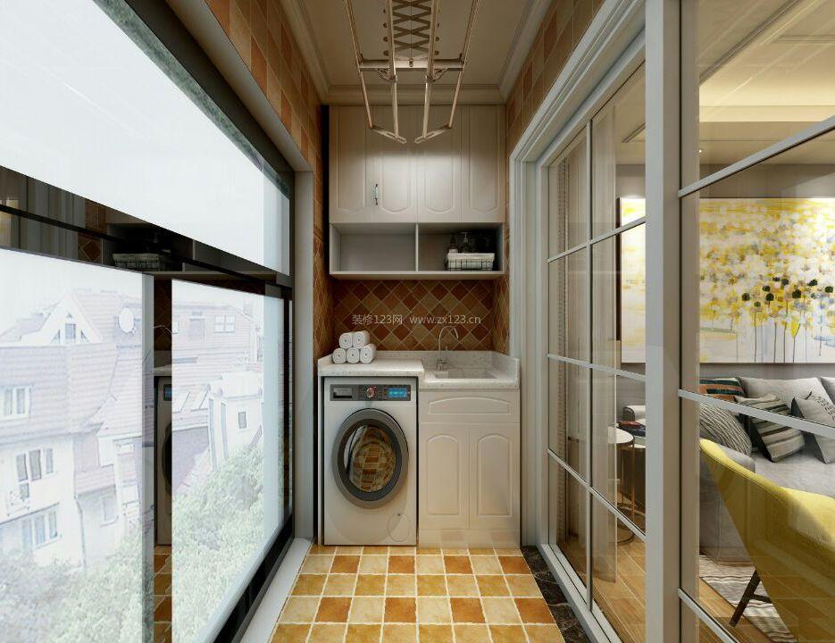 2018现代北欧阳台洗衣机柜子装修效果图图片