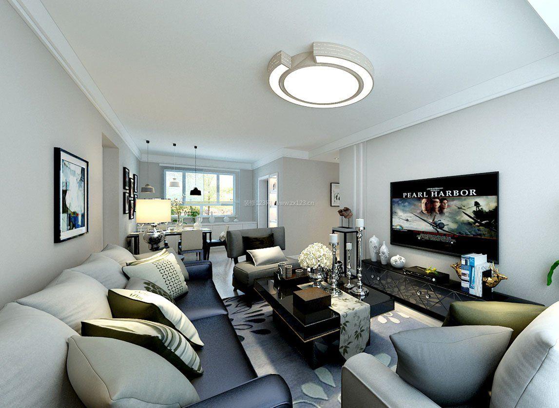 老房客厅圆形灯具装修图片