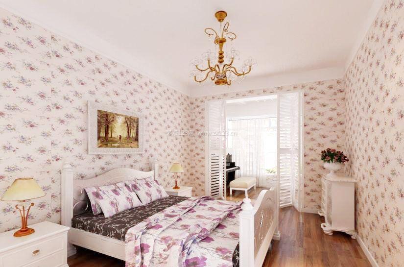 2018田园风格公寓卧室墙纸贴图装修图片