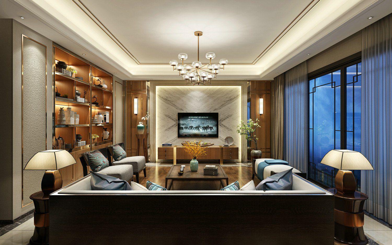 现代中式家庭客厅顶部装修效果图图片