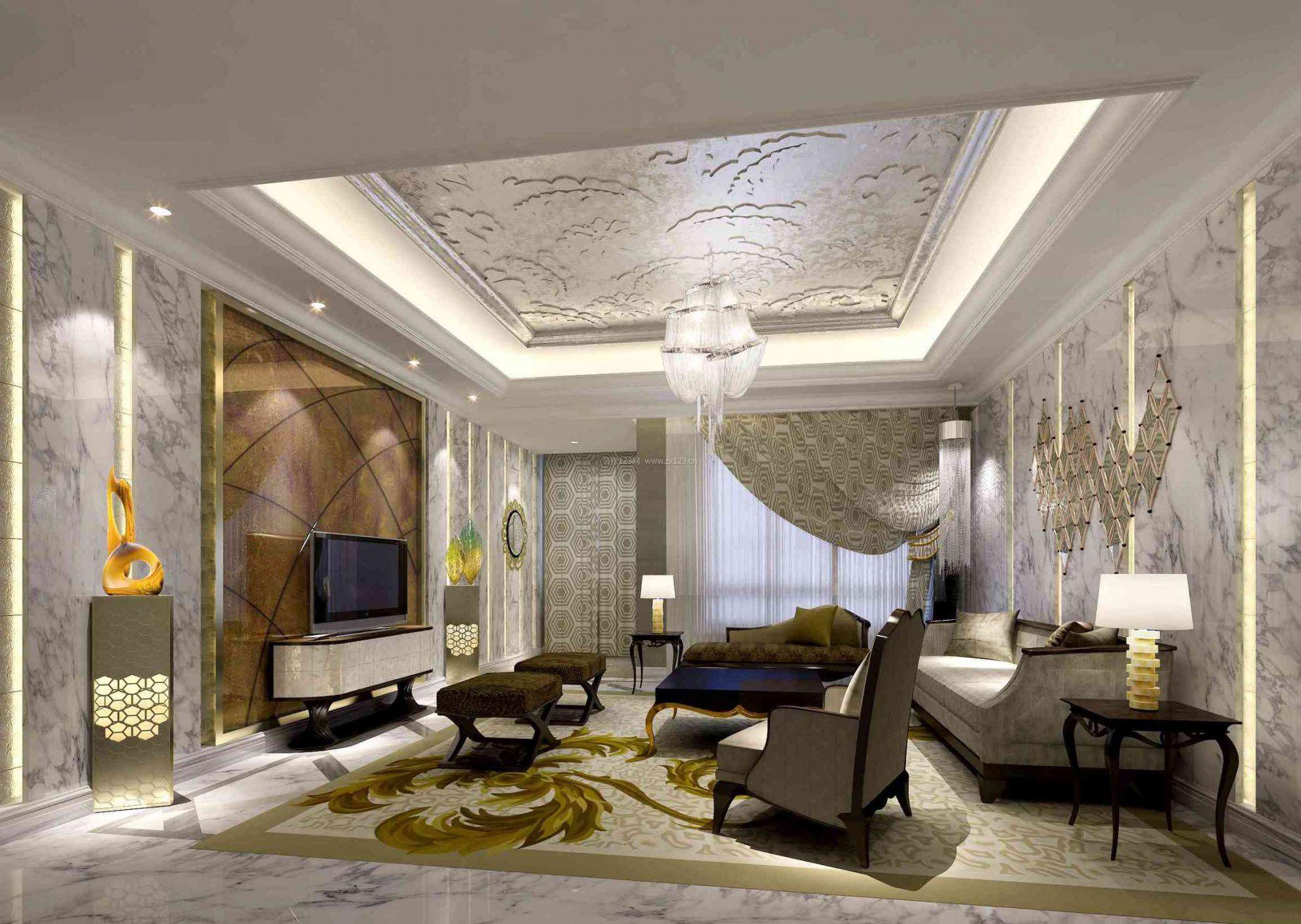 客厅顶部雕花吊顶装修效果图