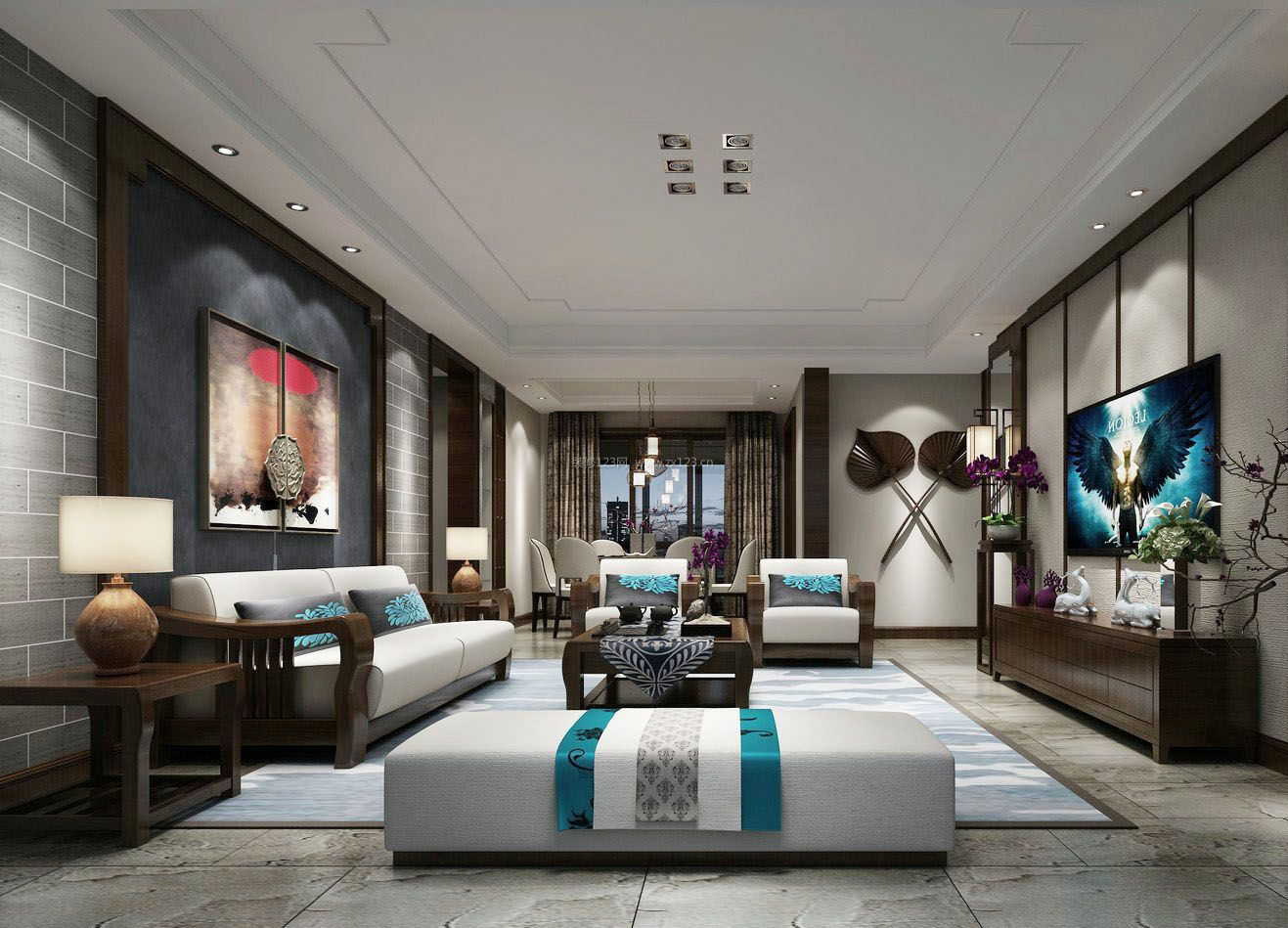 中式客厅顶部装修模型效果图