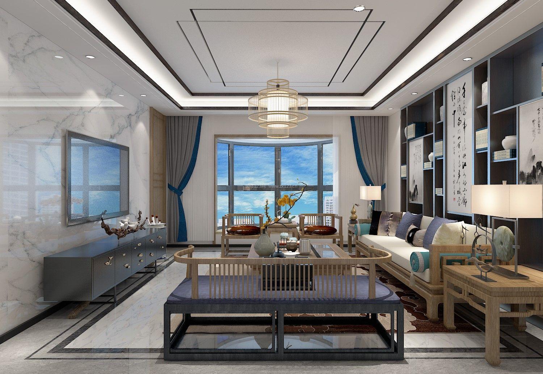 2018新中式客厅窗户设计装修效果图