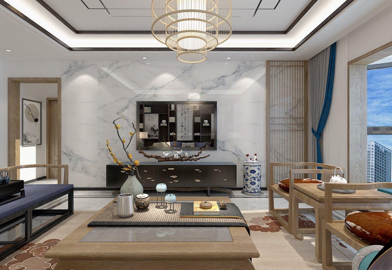 2018新中式风格家居客厅大理石电视墙设计图片图片