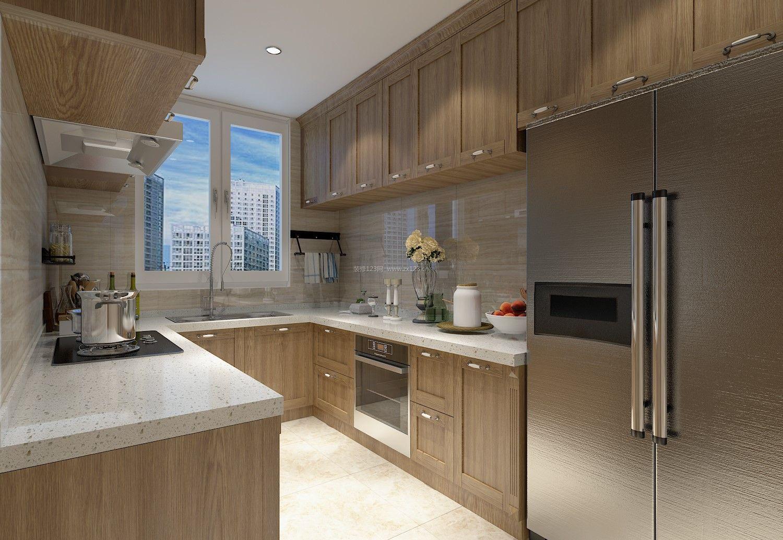 新中式厨房转角橱柜设计效果图2018