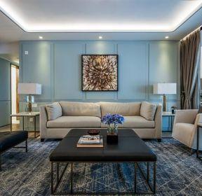 2018淡藍色客廳地毯搭配裝修效果圖片-每日推薦