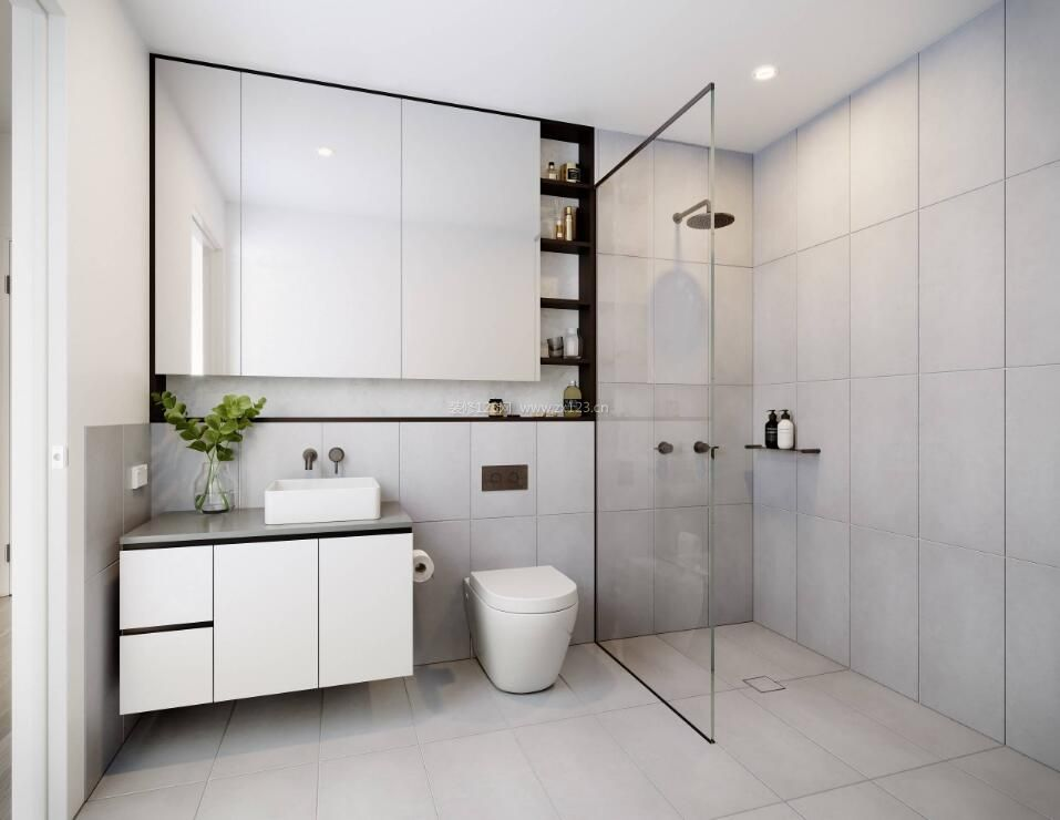 10平米卫生间整体柜子设计效果图_装修123效果图