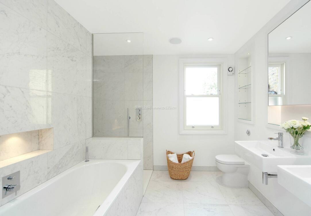 10平米卫生间现代白色装饰设计_装修123效果图