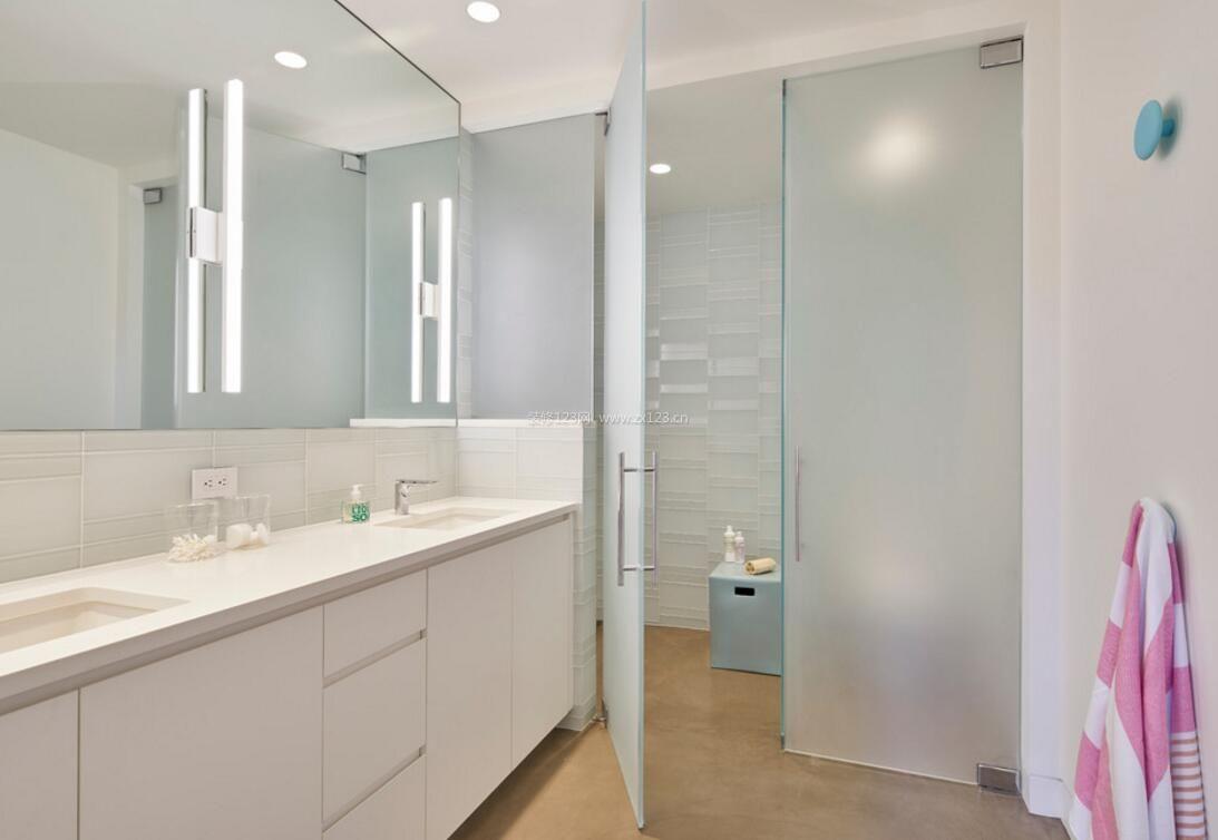 10平米卫生间磨砂玻璃门设计_装修123效果图