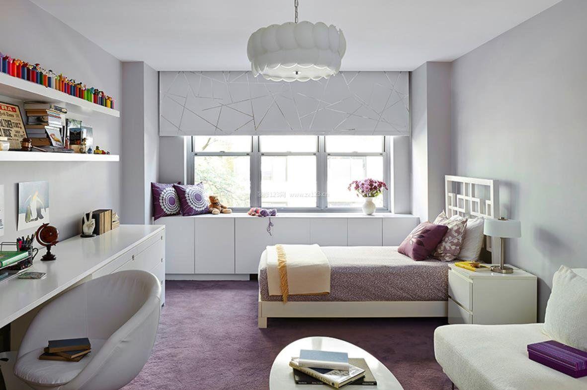 2018紫色小卧室家居设计图