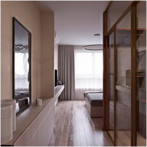 2018现代公寓装修效果图 主卧室带卫生间装修效果图