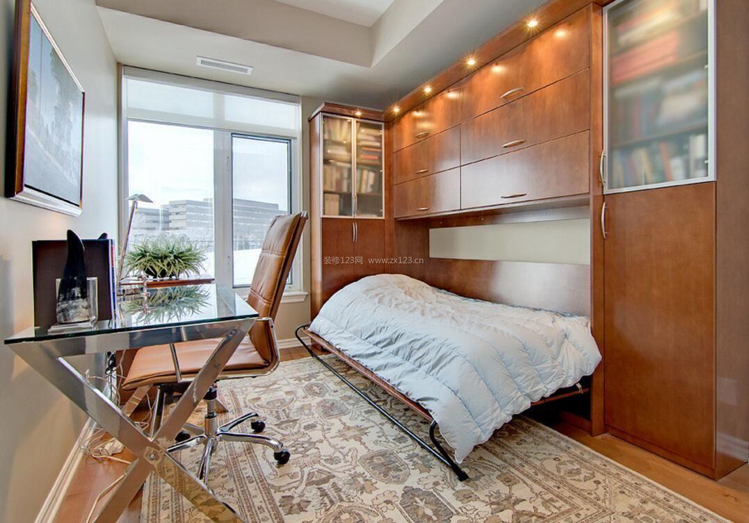 100平别墅书房壁柜床设计图片