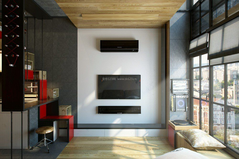 国外家装小客厅电视墙图片_装修123效果图图片